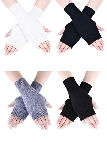 Tatuo 4 Pairs Cashmere Feel Fingerless Gloves with Thumb Hole Warm Gloves for Women and Men (Color Set 3)
