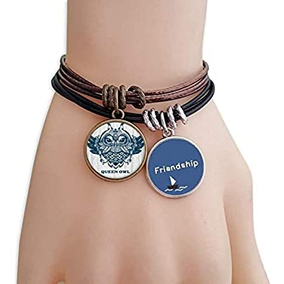 YMNW Queen Owl Forest Friendship Bracelet Leather Rope Wristband Couple Set Estimated Price -