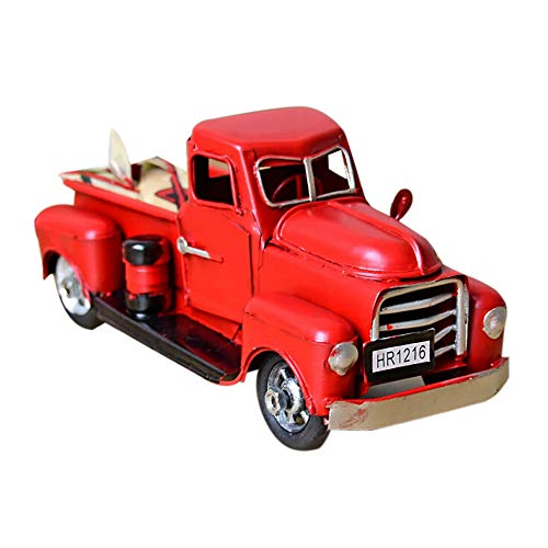Dreamyth- Vintage Red 1/12 Metal Truck Christmas Ornament Kids Xmas Gifts Toy Table Top Decor (red)