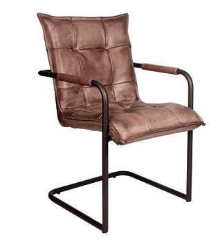 Livior Buffelleder Freischwinger Chesterfield Schwingstuhl Industrialdesign Leder Stuhl Metallgestell Rund Vintage Look