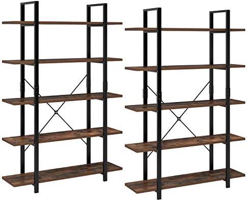 Homfa 2 Estanterías de Pie Estantería Escalera con 5 estantes Estantería Metálica con Madera para Salón Baño Terraza Vintage y Negro: Amazon.es: Hogar