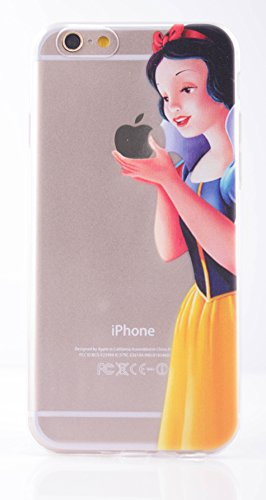 (6 (4.7)-Snow White-Silicone Case) ROXX iPhone 6 / 6s (4.7) Case Fairy Tale Rubber TPU Silicone Cases Disney Snow White Eating Apple Elsa Frozen Olaf Ariel Holding Apple for iPhone 6 (4.7) - Disney Cell Phone Cases