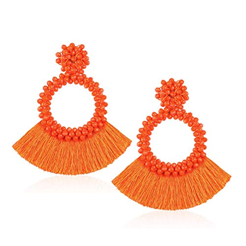 - Tassel Bead Statement Earrings for Women Girls Handmade Bohemian Beaded Hoop Round Thread Fringe Drop Trendy Club Studs Ear Jewelry Accessories Present for Lover with Gushion Gift Box GUE130 Orange