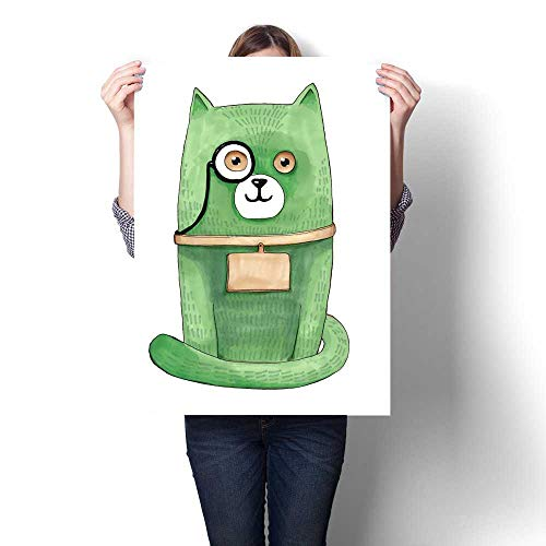 Anshesix Canvas Wall Art for Bedroom Home Decorations Marker Illustration Smart Green Cartoon cat with Eyeglasses Isolated on White Background for Home Decoration No Frame - Frames Eyeglasses Fred