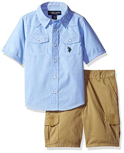 (U.S. Polo Assn. Boys' Woven Sport Shirt and Twill Cargo Short, Plaid, 4)