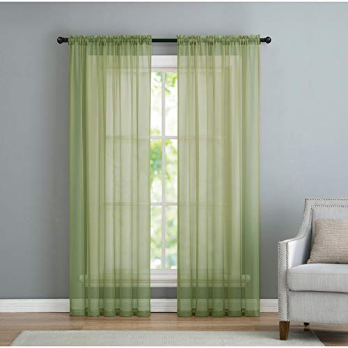 (VCNY Home Infinity Rod Pocket Sheer Window Curtains Panel Pair, 108x96, Sage)
