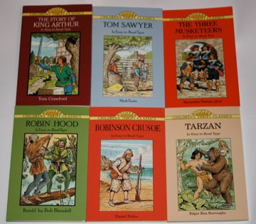 Six Dover Children's Thrift Classics: The Story of King Arthur - Tom Sawyer - The Three Musketeers - Robin Hood - Robinson Crusoe - Tarzan (In Easy-to-Read Type)