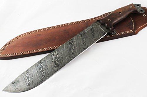 "Moorhaus Damascus Machete Knife - Handmade 17.5"" Total Length - Includes Leather Sheath (Walnut Wood)"