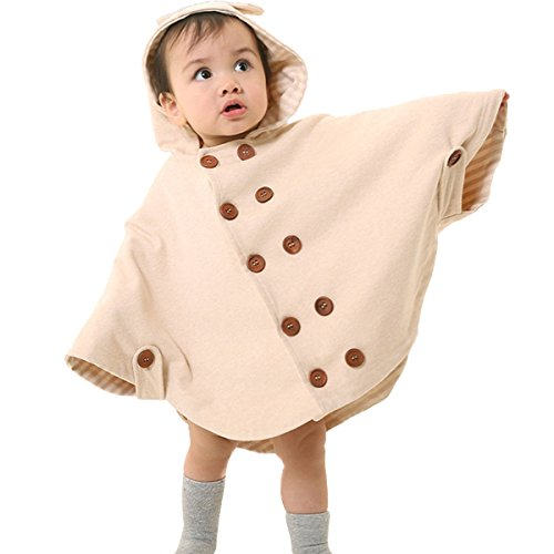 Price comparison product image Poliking Girls Baby Kids Toddlers Wear Hooded Cape Double Row Wood Button With Hat Outwear Cloak Suit For Four Season (Beige)