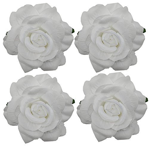 Sanrich 4pcs/pack Fabric Rose Hair Flowers Clips Hairpin Brooch Hair Accessory Wedding Party Headpieces (white)