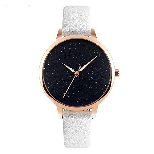 J.Market Quartz Watch Women 30 Meters Waterproof Lady Watch Creative Starlight Dial on Sale Birthday Gift with Genuine Leather Band (White)