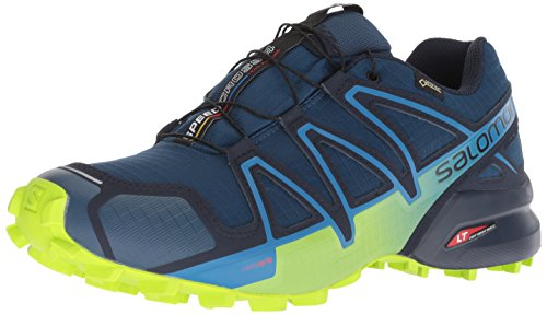 Salomon Men's Speedcross 4 Gtx Trail Running Shoes, Blue (Poseidon/Navy Blazer/Lime Green Poseidon/Navy Blazer/Lime Green), 12 M ()