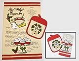 Heart of America 2 Piece Set Red Velvet Tea Towel & Pot Holder