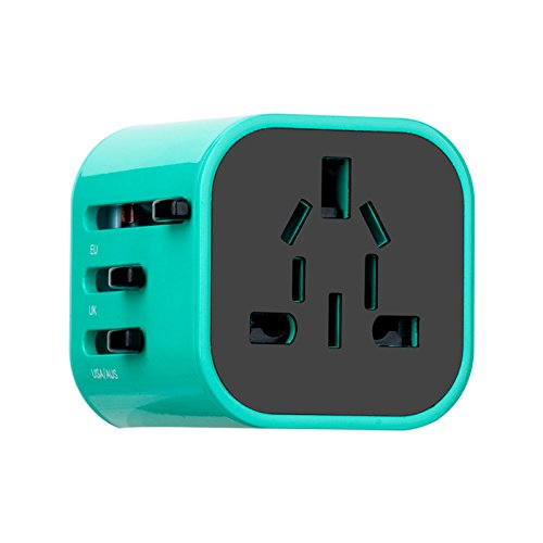 Price comparison product image Worldwide Travel Plug Adapter and Charger - MOMAX International Standard Cell Phone/Desktop/Laptop/Touch Screen Tablet/Computer/GPS Chargers ,Blue