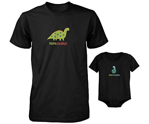 Papasaurus and Babysaurus – Daddy and Baby Cute Matching Shirt & Bodysuit Set (DAD-2XL / BABY-24M)