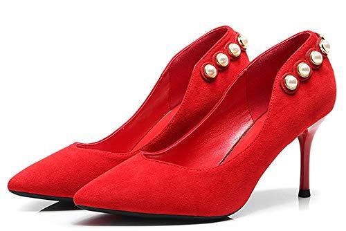 Elégant Escarpins Perles Talon 31 Femme EU Rouge d'automne Aiguille Chaussure Easemax 5qfUw464