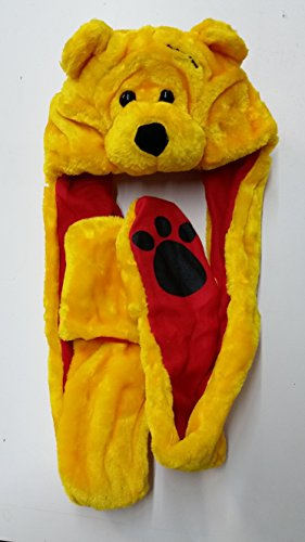 Yellow Bear Plush Animal Hat with Mitts / Scarf High Quality Plush