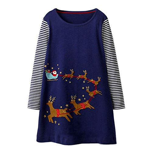 VIKITA Toddler Girl Long Sleeve Santa Reindeer Jersey Dress Baby Girls Winter Birthday (6T, JM7753) -