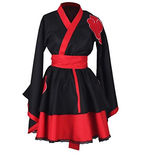 CLLMKL Naruto Shippuden Akatsuki Organization Lolita Kimono Dress Cosplay (X-Large) Black-red -