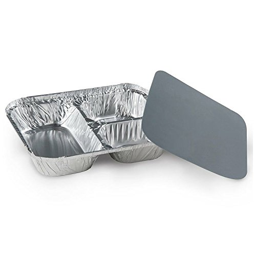 Pactiv RCL750200, 3-Compartment Aluminum Foil Pans Combo with Flat Foil Lids, Take Out Disposable Foil Containers with Matching Covers (100)