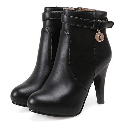 TAOFFEN Women Fashion Stiletto Ankle Boots With Zipper Antumn Winter Shoes 1316 Black Kh0Swh2