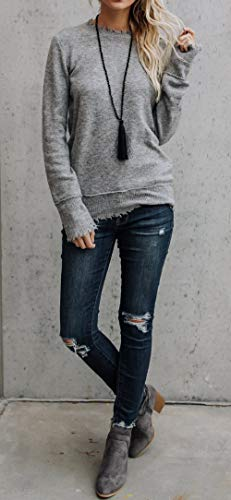 Legendaryman Col Blouse Casual Femmes Jumper Unie Sweat Tops Fashion Chandail Pulls Haut Rond et Automne Shirts Gris Pullover Couleur Shirts Manches Printemps Longues rwfnWPq6xr