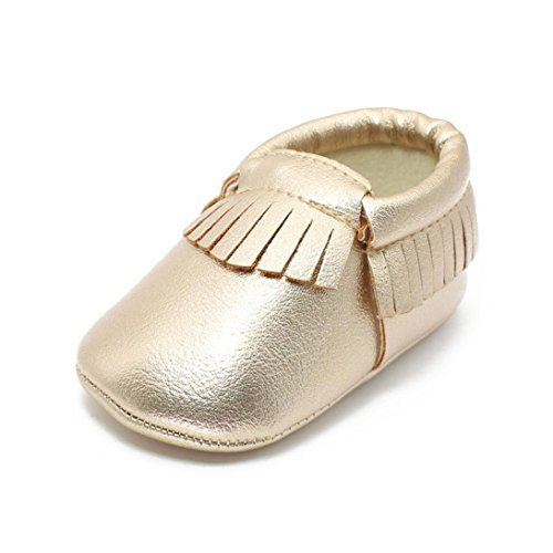 [Coper Baby Infant Boy Girl Tassel Soft Sole Leather Shoes Casual Walker (Gold, 6~12 Month)] (12 Month Girl Costume)