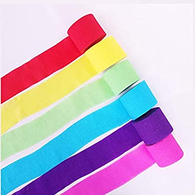HAPYLY 6 Rolls Party Streamers Roll Backdrop Decorations Crepe Paper Rainbow For Birthday Christmas Class Family Gathering Graduation
