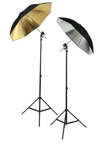 ePhoto 6 Umbrellas Photography Studio Off Camera Flash Lighting Kit TWO Flash Shoe Mounting Swivel Bracket Flash Light Kit With Stands HUB3