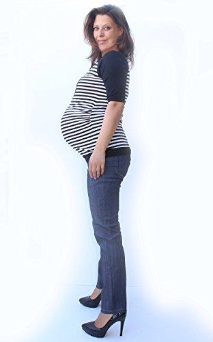 maternitylace camiseta de corazón, color blanco y negro, diseño de rayas Midi funda, algodón camiseta de maternidad, Mia Maternidad, embarazo Wear, adecuado para embarazo y más allá B&W stripes Talla: B&W stripes