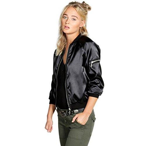 DEESEE(TM) Women Casual Zipper Vintage Blazer Jacket Coat Outwear (L, Black) (Quilted Vintage Coat)