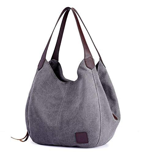 (Women's Canvass Hobos Single Shoulder Bags Vintage Solid Multi-pocket,Gray,28x30x13CM)