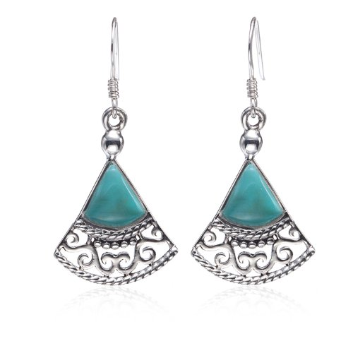925 Sterling Silver Blue Turquoise Gemstones Filigree Triangle Dangle Earrings - Nickel Free ()