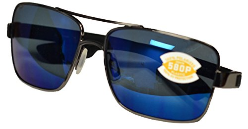 Costa Del Mar North Turn Sunglasses, Gunmetal with Matte Black, Blue Mirror 580 Plastic Lens ()