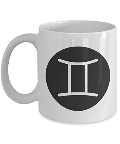 (Horoscope Gemini The Twins Symbol White Ceramic Coffee Mug - Great Gift Idea for May June Birthdays )