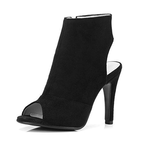 Ladies Fashion Stiletto High Heels Zipper Women Sandals Black Wine red Summer Women Shoes Black JLOMi