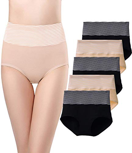 SEXYWG 5 Pack Womens Cotton Underwear Tummy Control Brief Full Coverage High Waist Panties