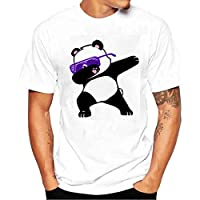 zyooh Fashion para hombre cuello redondo playera, manga corta de impresión Casual algodón de Panda Color Sólido Corto Tops