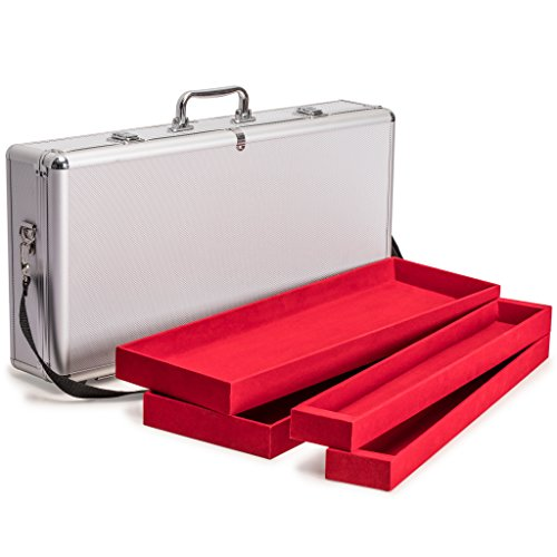 Mahjong Case - Yellow Mountain Imports Aluminum Case with Shoulder Strap for Mahjong (Mah Jong, Mahjongg, Mah-Jongg, Mah Jongg, Majiang) Set, Presidential