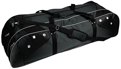 Martin Sports Deluxe Lacrosse Player's Bag Holds Two Sticks, Red on Black, 42' L X13' W X 12' H