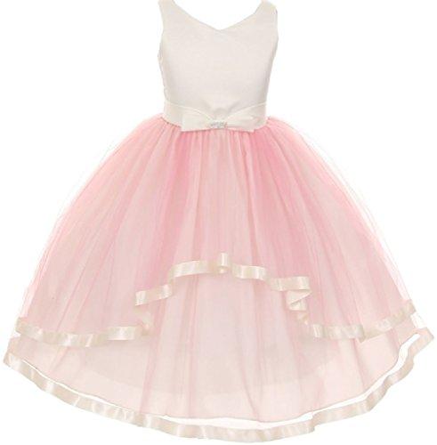 Big Girls' V Neck Satin Bow 3 Layer Tulle Flowers Girls Dresses Mauve Size 8