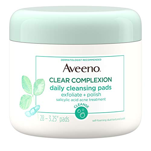 Aveeno Clear Complexion Daily Facial Cleansing Pads with Salicylic Acid Acne Treatment, 28 ct ()