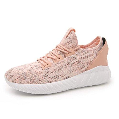 Las Zapatillas De Deporte Respirables De Las Mujeres, Las Zapatillas Deportivas Ligeras, Los Zapatos Casuales Tejidos Voladores Pink
