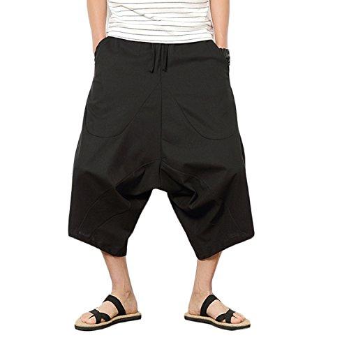 Helisopus Men's Casual Elastic Waist Linen Cotton Capri Harem Shorts Pants with Drawstring (Drawstring Capri Shorts)