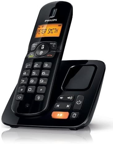 Philips CD1864B/DE - Teléfono inalámbrico (con contestador y Pantalla en Blanco y Negro de 4,06 cm/1,6