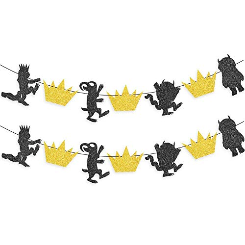 Gold And Black Glitter Where the Wild Things Are Inspired Banner Wild One Birthday Party Photo Prop Decorations Set of 2