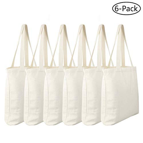 Diy Halloween Tote Bags (Faylapa 6 Pack Canvas Tote Bags Heavy Duty and Strong Halloween Trick or Treat Bag Shopping Grocery Bag Blank Cotton Bags for Decorating Crafts DIY,Painting (White, 13.6