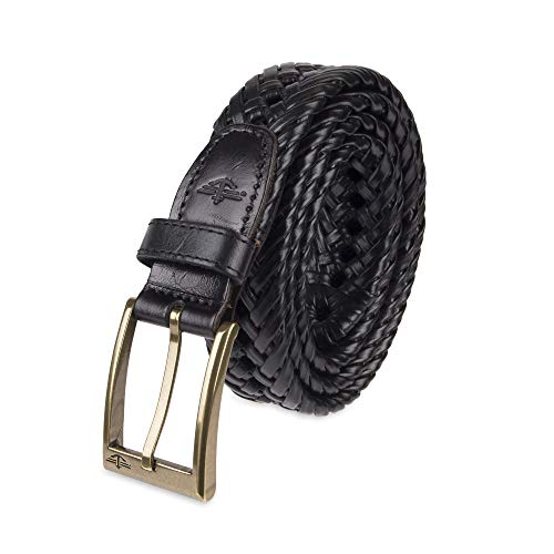 Dockers Men's Leather Braided Belt - Casual for Jeans Pants Khakis with Solid Strap and Buckle ,black, 54