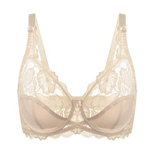 Zbkdds Women Large Cup Sexy Lace Bra Underwire Top Bralette Underwear Brassiere for Lingerie Cropped (3,44D) - Elegance Full Figure Bra