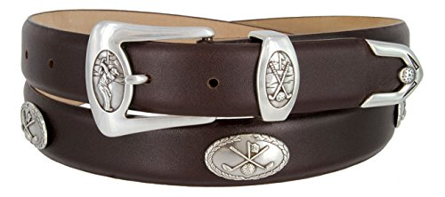 3 Piece Leather Concho Belt (BC3109- Italian Calfskin Leather Designer Golf and Dress Belt For Men)